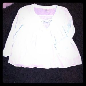 SZ L MUDD SHEER TOP. VERY PALE TURQUOISE